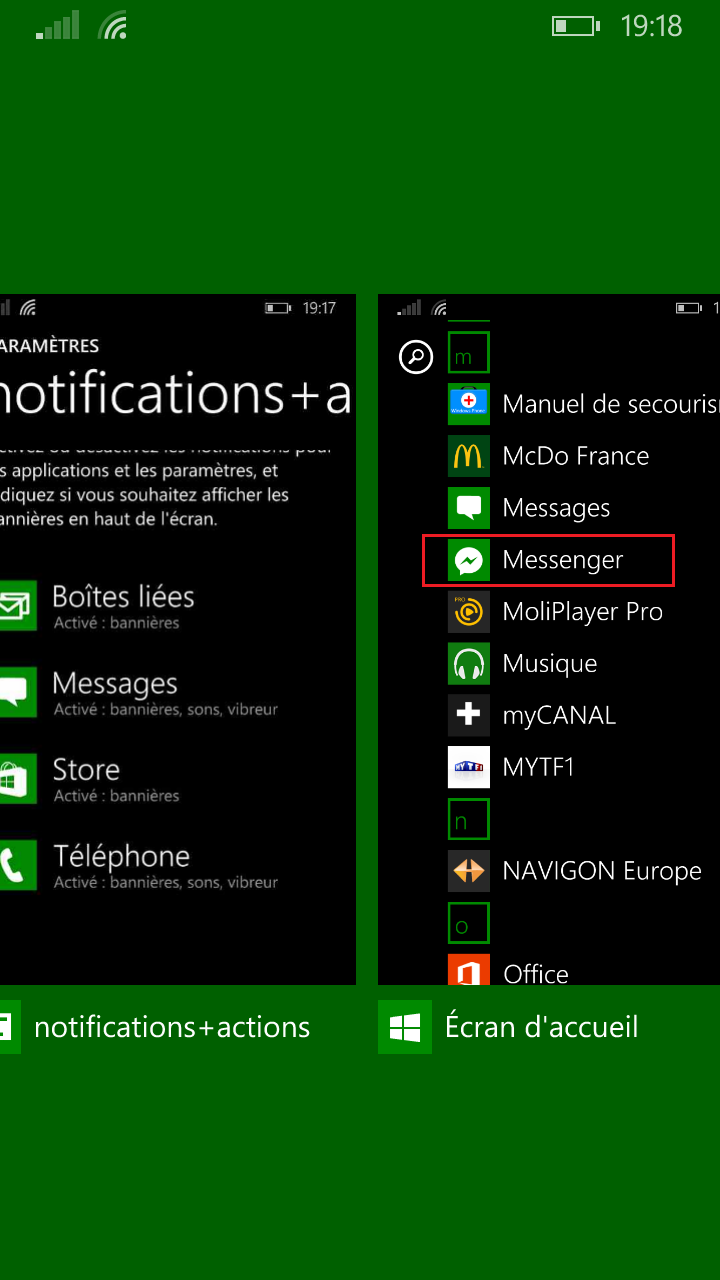 application centre de notification iphone