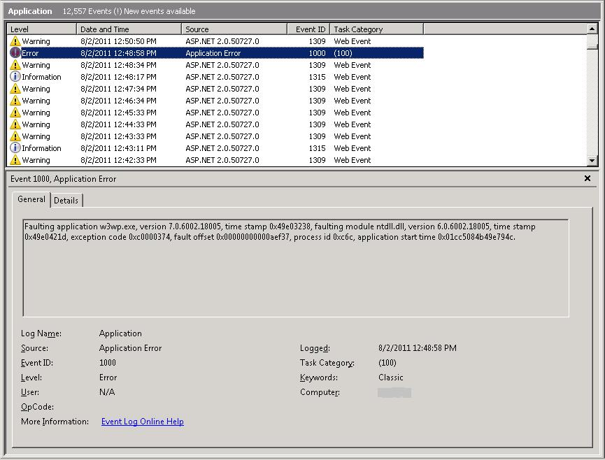 application error id 1000 ntdll.dll