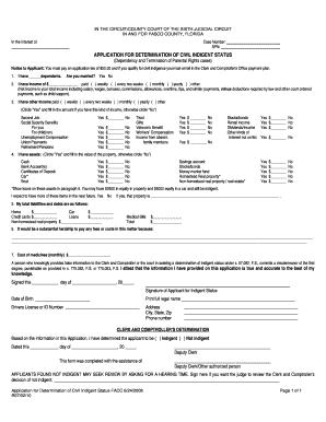 application for determination of civil indigent status florida