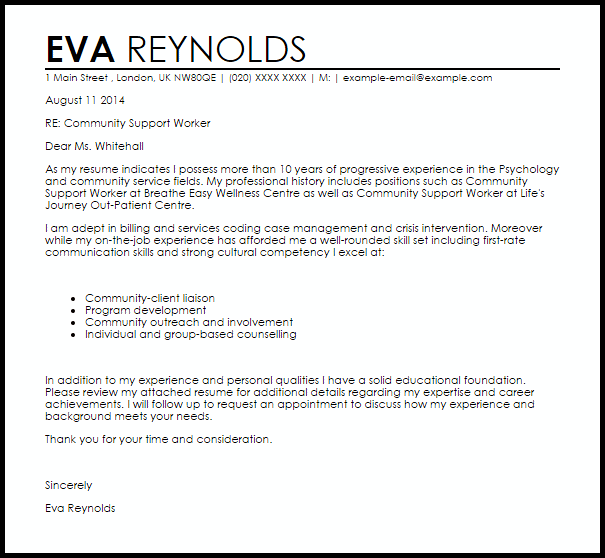 application for support worker letter