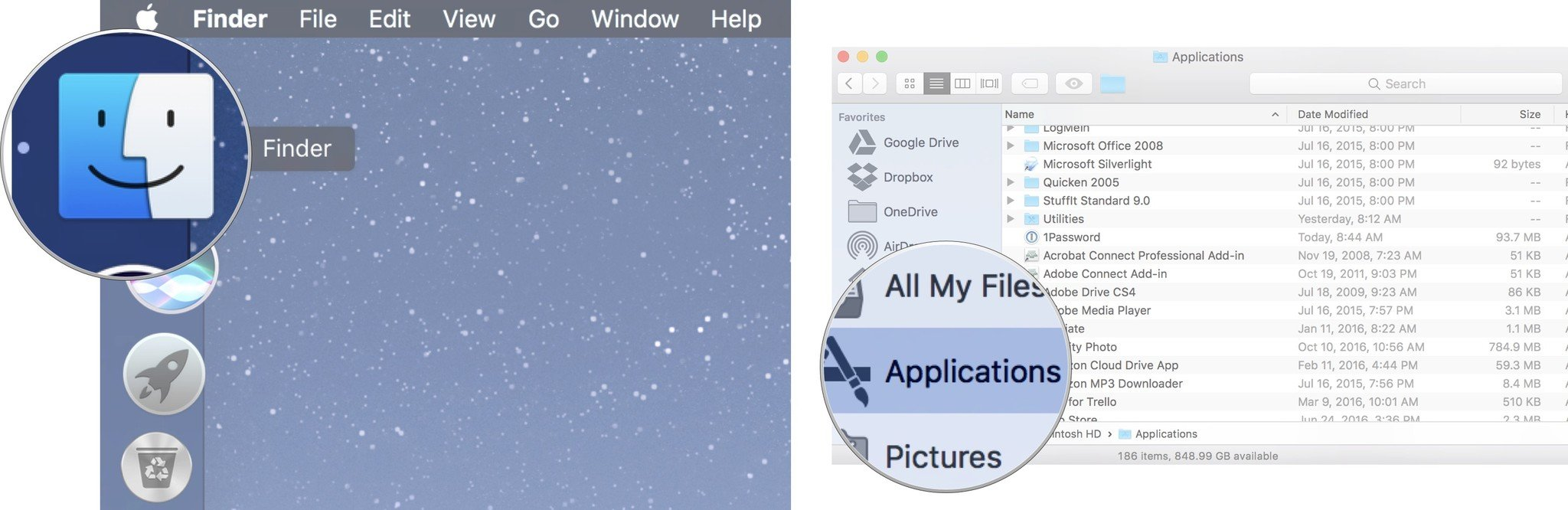 applications folder gone from finder