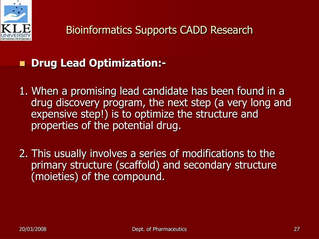 applications of drug designing in bioinformatics