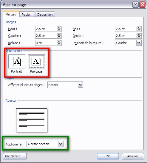 appliquer format paysage seule page