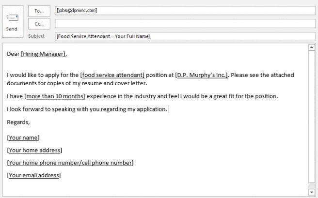 apply to job application sample