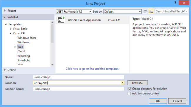 asp.net core web page application template visual studio