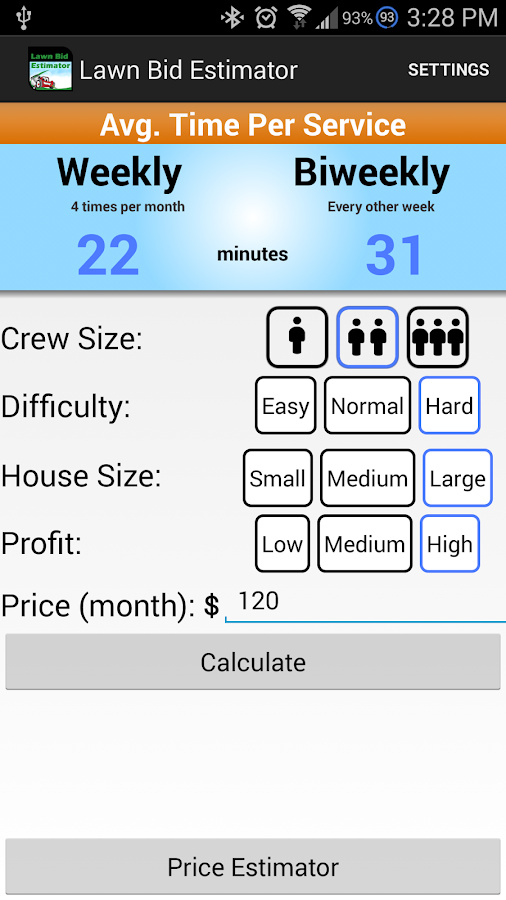 lawn care estimate business android application