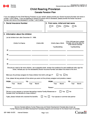 canada pension plan application child rearing provision