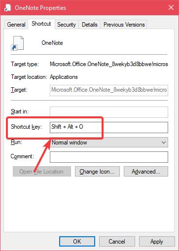 add keyboard shortcut to application windows 10