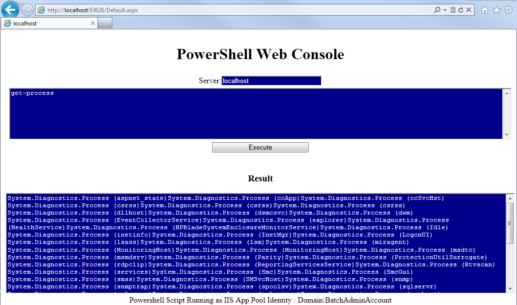 call console application from powershell