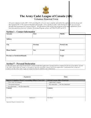 camp application form template canadian army cadets