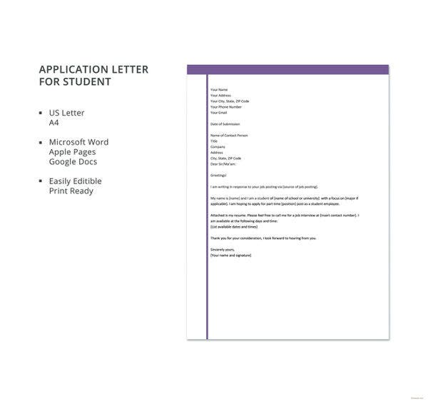 college application letter page format