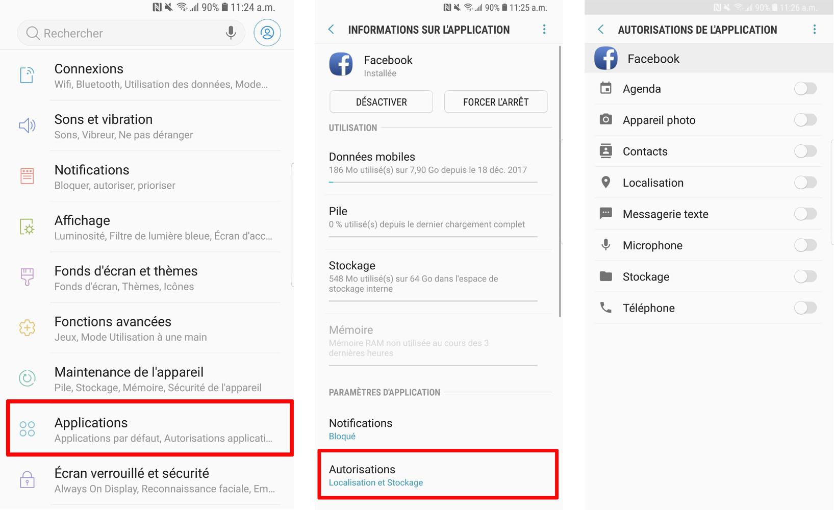 comment restreindre les autorisations des applications android
