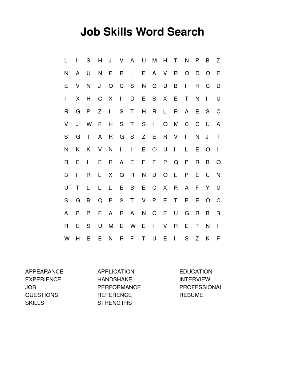 job application and interview crossword puzzle