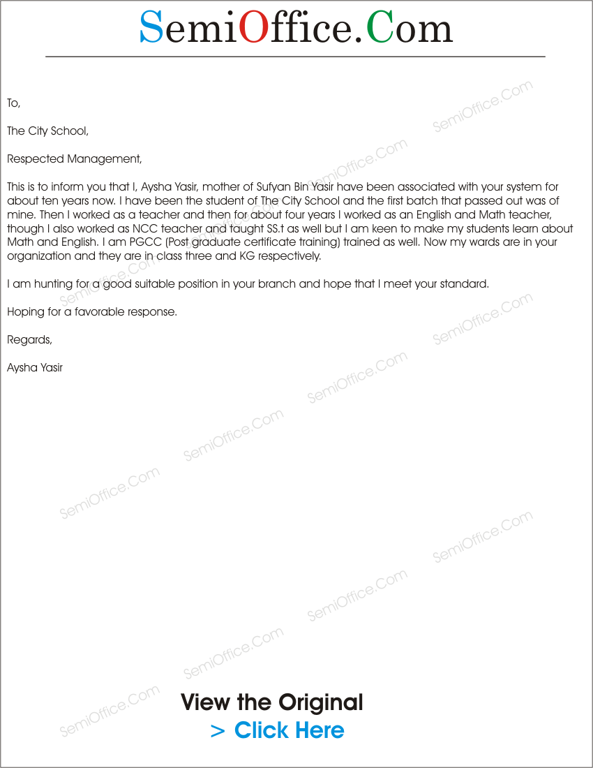 application letter for international school montreal