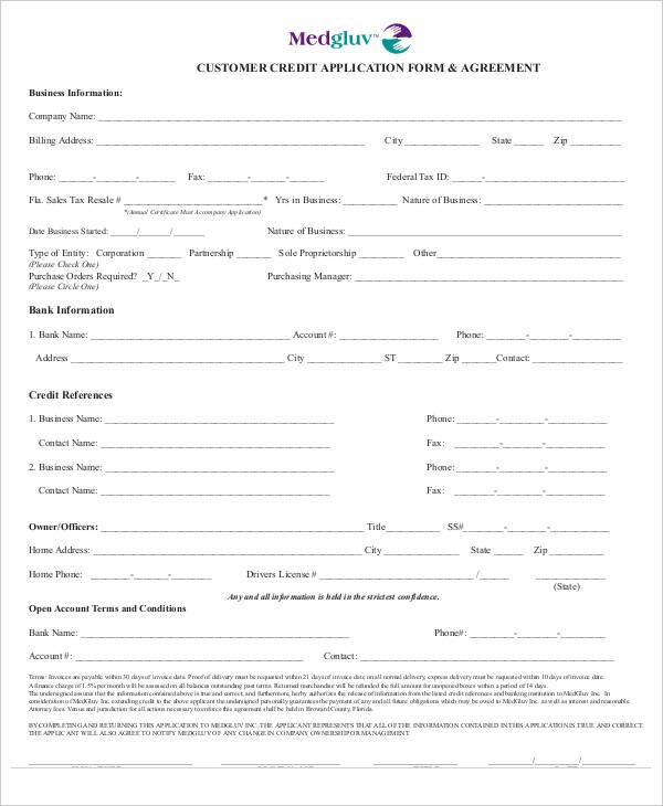 customer credit application template ontario