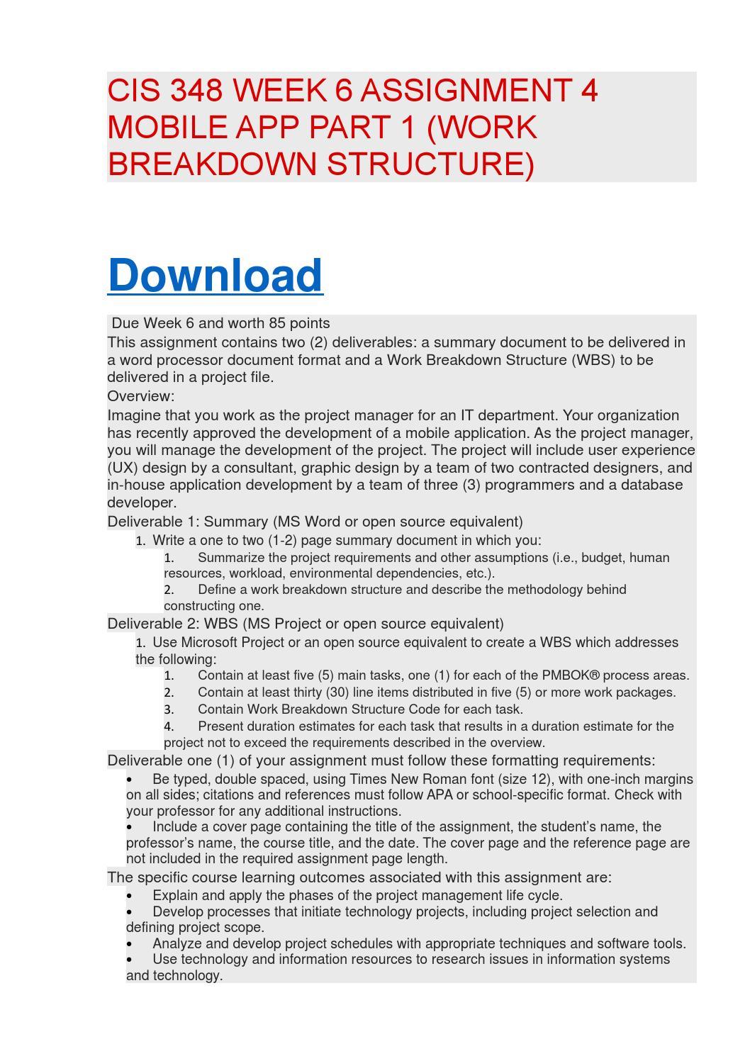 mobile application development work breakdown structure