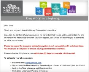 disney internship program application process