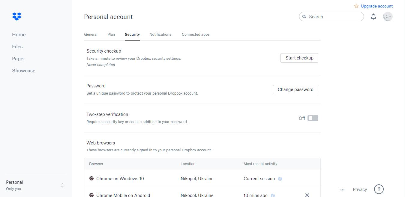 dropbox desktop application change account