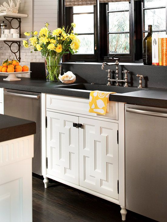 embellish kitchen cabinets with wooden appliquas