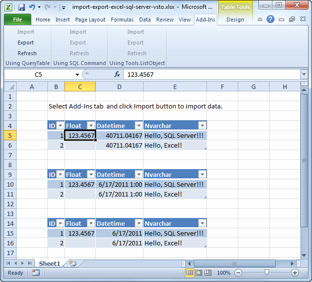 excel vba application top corner