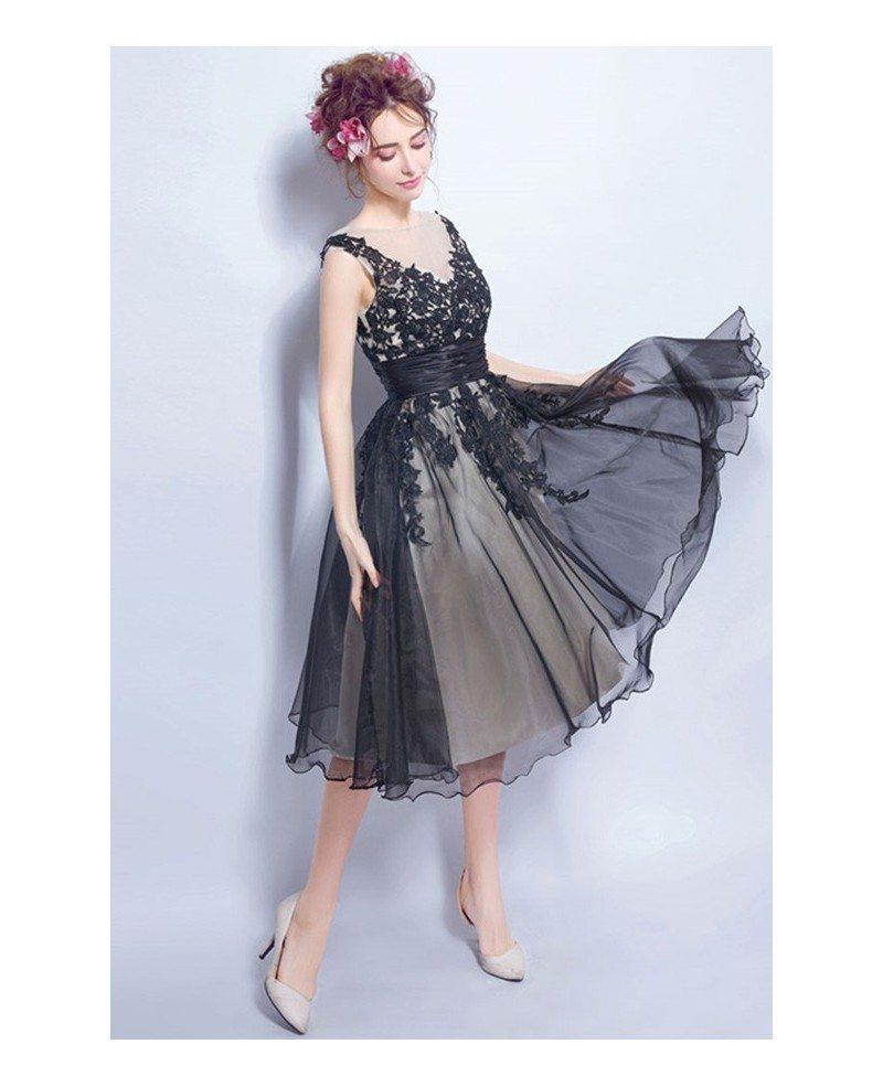 v neck tulle dress applique bridesmaids
