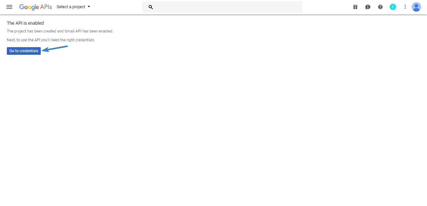 gmail account create a web application and generate api keys