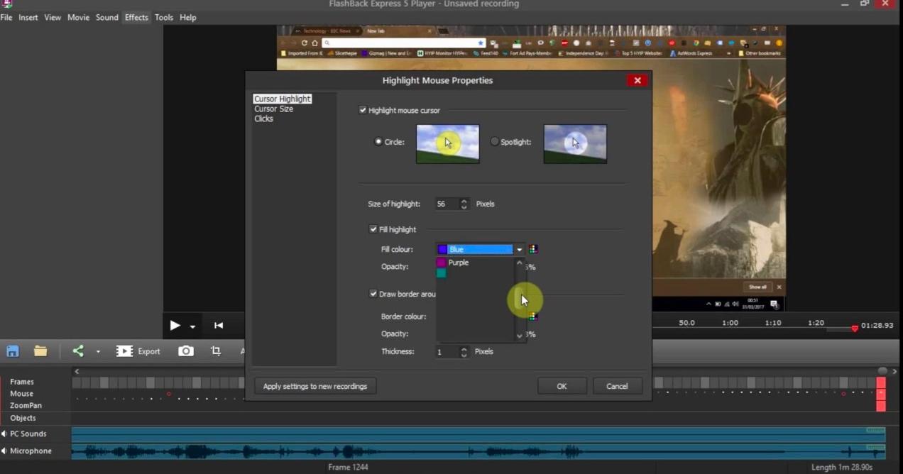 how to record obs studio application fullscreen