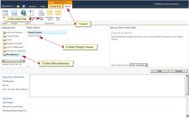 integrate report in web application