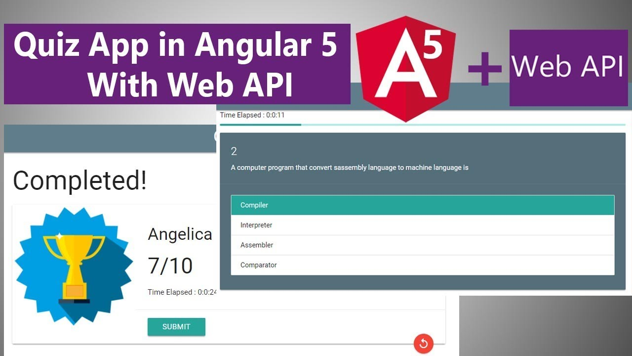 making a quiz application on angular