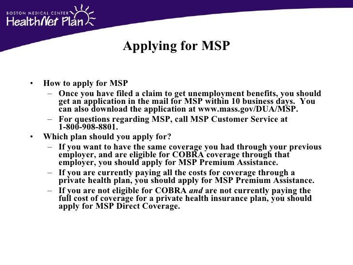 msp application for regular premium assisstance
