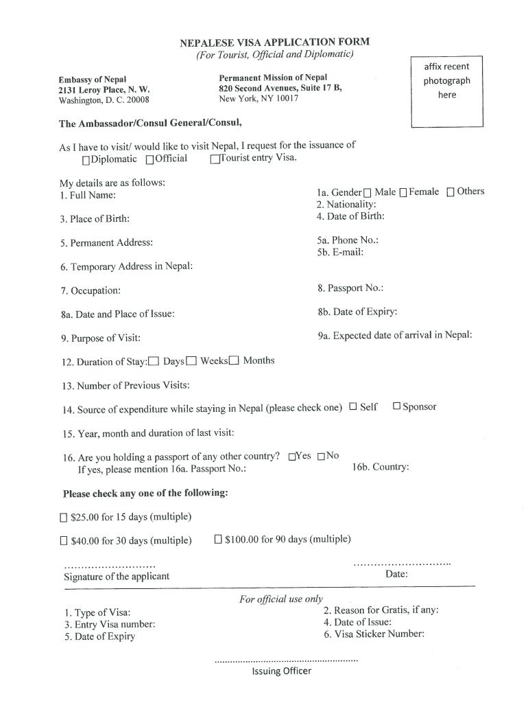nepal visa application form for canada