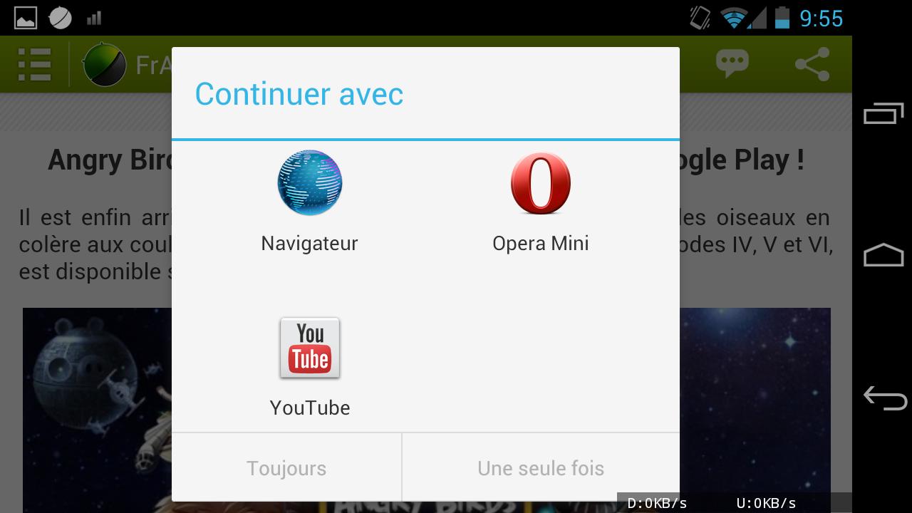 nouvelle application face up pour android