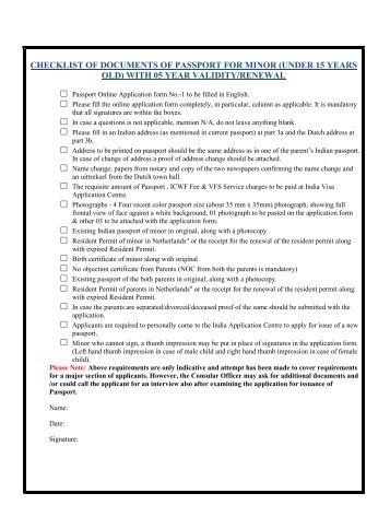 oci application 2018 check list minor
