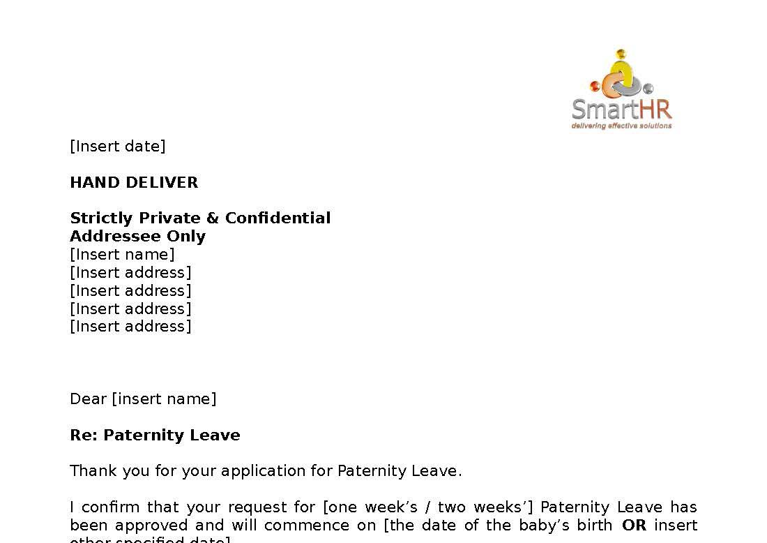 paternity leave application letter india