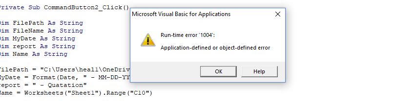 run time error 1004 application defined or object
