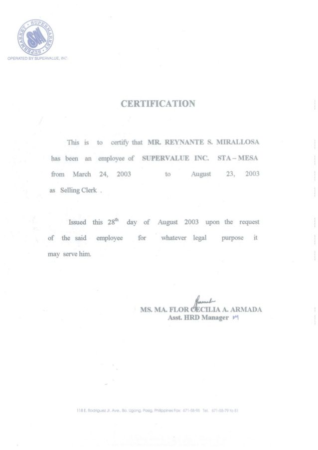 sample certificate of employment for credit card application