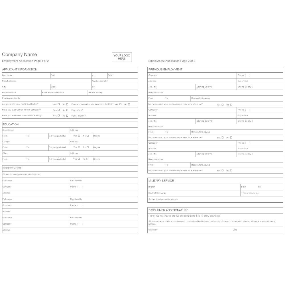 sample employment application form canada