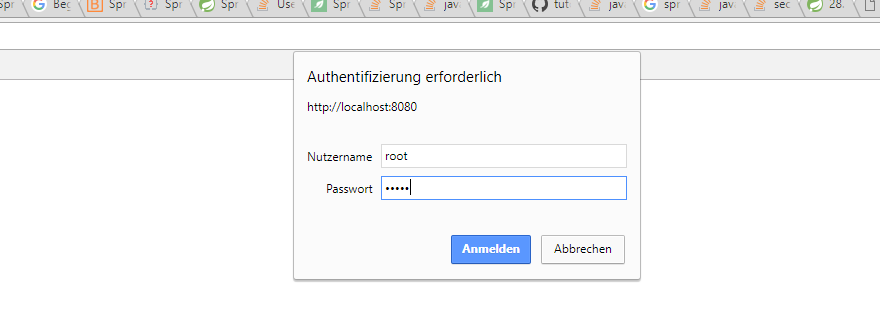 save username and password in spring application