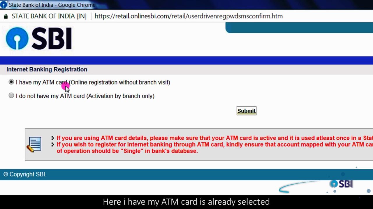 sbi online internet banking application form