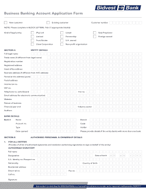 standard bank business account application form