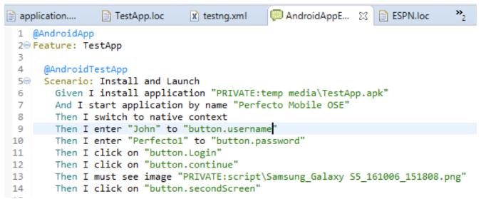 test scenario example for mobile application