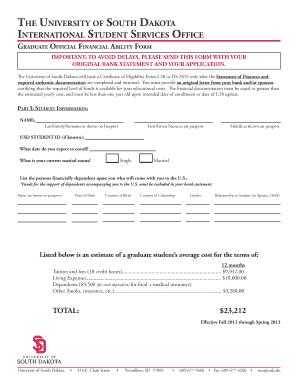 university of south dakota graduate application deadline