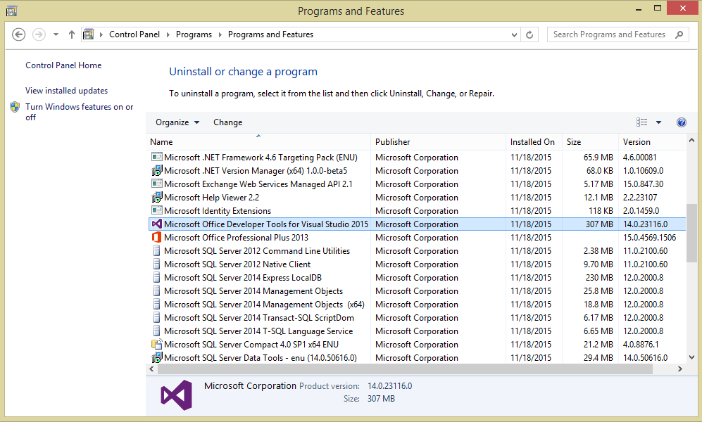 visual studio incompatible the application is not installed