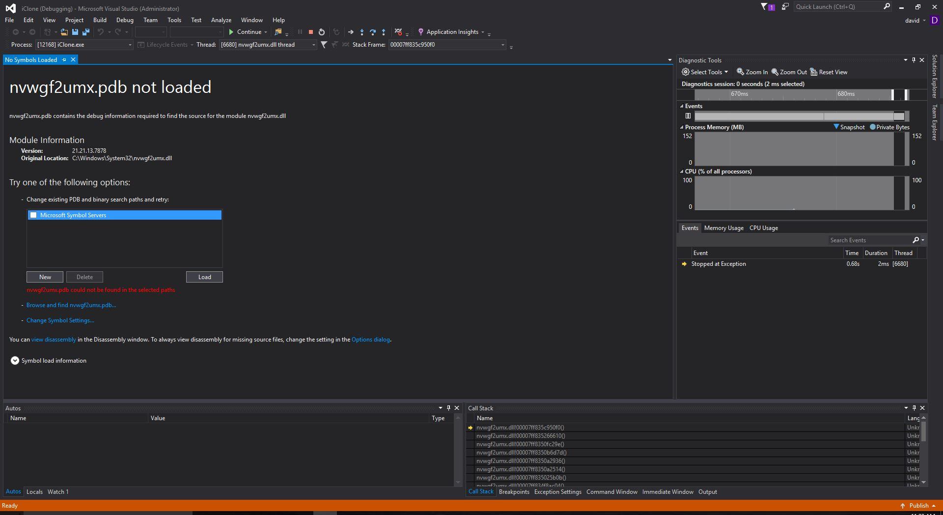 windows 10 debug message after application crash