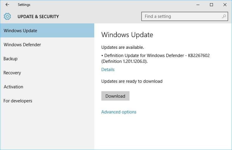 windows 10 update and privacy settings application